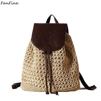 FanFine Summer Drawstring Straw Bag Hollow Out School Bag Knitting Backpacks Beautiful Beach Bag Bagpack for Travel Holiday