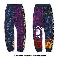 Bape Aape New fashion camouflage sports leisure couple contrast color pants