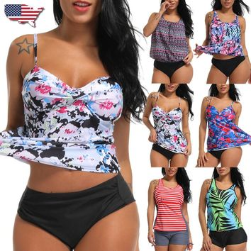 Women's Tankini Bikini Set Push-up Padded Floral Swimsuit Bathing Suit Swimwear
