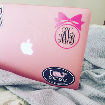 Bow & Monogram Decal