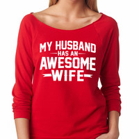 Red My Husband Has An Awesome Wife Raglan Shirt