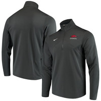 Men's Nike Anthracite Arkansas Razorbacks Logo and Mascot Name Training Quarter-Zip Performance Jacket