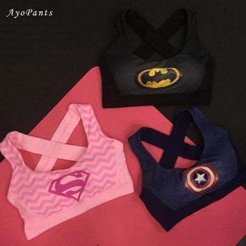 High Impact Women's Elastic Supergirl Sports Bra In Pink Shirts Superman Women Running Underwear Padded Bra Color Rush Tank Tops