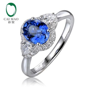 CaiMao 1.51ct Natural Oval Shape Sapphire Halo Diamond 14K White Gold Engagement Ring for Anniversary