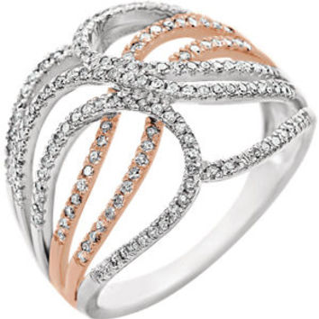 14K White & Rose 1-2 CTW Diamond Criss-Cross Ring