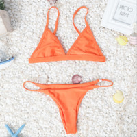 Hot sale sexy fresh straps two piece Orange  bikini sexy swimsuit 7 color