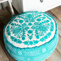 Turquoise Embroidered Floor Pouf