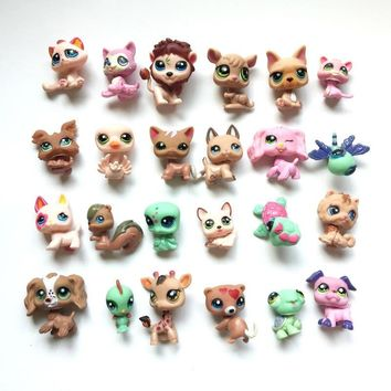 24 pcs/lot LPS Cartoo Vinyl Toy Dolls Pet Action Figures Unicorn Kitty Dogs Mini Figures Birthday Toys for Children Animals Sets