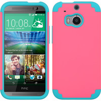 DW Premium Hybrid Armor Case for HTC One M8 - Hot Pink/Blue