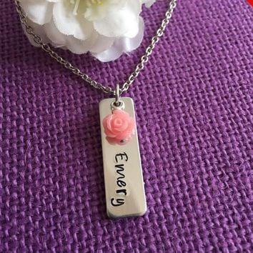 Custom Name Necklace - Personalized Child Name Jewelry - Flower Girl Necklace - Gift for Mom - Mommy Jewelry - Pink Flower Necklace
