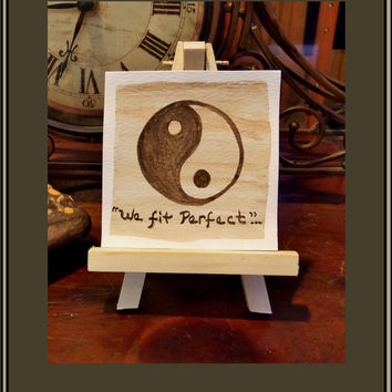 Yin Yang ART, mens gifts, miniature paintings, Love Birds,original art, desk art,mother gift, cool gifts,art lovers gifts,artistic gifts