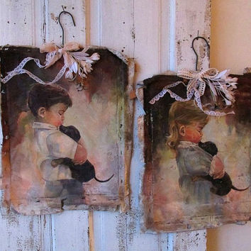 Canvas painting grouping, boy and girl tattered wall hanging shabby farmhouse distressed artwork home decor anita spero design