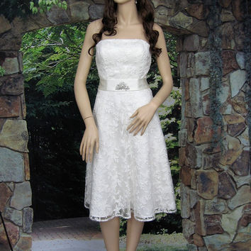 Ivory strapless wedding dress embroidered lace with by alexbridal