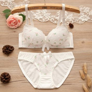 2018 Young Women Sexy Cotton Bra Sets Pantie and Bras Sets Lingerie Sets Underwear