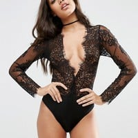 ASOS Lucy Microfibre & Delicate Lace Plunge Body at asos.com
