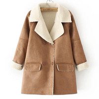 Autumn Winter Women Leather Long Sleeve Coat a13020