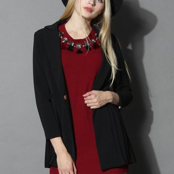Chic Blazer with Pleated Hem