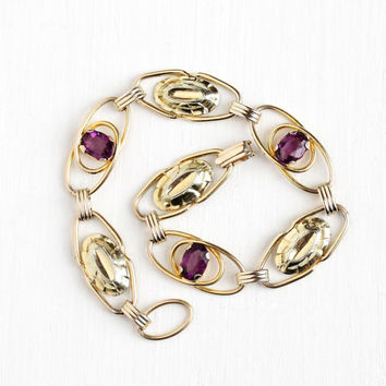 Vintage 1/20 12K Yellow Rosy Gold Filled Simulated Amethyst Bracelet - 1960s Retro Oval 3 Faceted Purple Glass Stone Floral Flower Jewelry