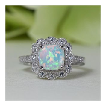 Micropavé Antique Victorian Style Cushion Cabochon Lab-Created Opal Cubic Zirconia Ring in Sterling Silver