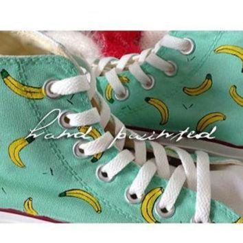 ICIKGQ8 hand painted shoes converse cute banana pattern seven colors men s and women s shoes