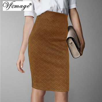 Vfemage Womens Elegant Vintage Fashion Weave Pattern Wear To Work Business Casual Office Party Pencil Sheath Skirt 4655