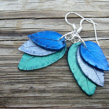Green and Blue Leaf Earrings  Polymer Clay and by JustClayin