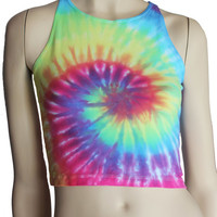 Pastel Rainbow tie dye spiral ladies crop top tye dyed singlet tank One Size AU 8 - 10 (US 4 - 6) American Apparel