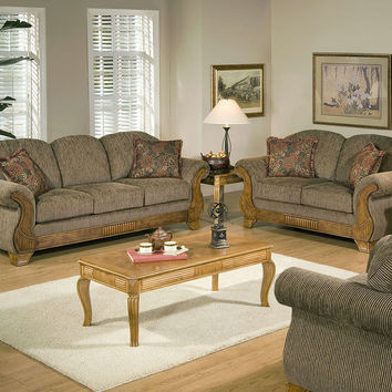 Torrey Tomato wood trim sofa and loveseat by Serta Upholstery