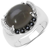 5.75 Carat Genuine Black Spinel & Moonstone .925 Sterling Silver Ring