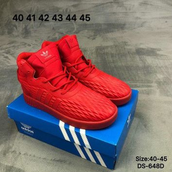DCCK9ME Adidas TUBULAR INVADER STRAP LOS ANGELES Men High-Top Red Fashion Skate Shoes