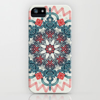 Coral & Teal Tangle Medallion iPhone & iPod Case by Micklyn