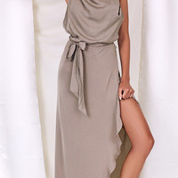 Gray Halter Tie Waist Asymmetric Hem Open Back Maxi Dress