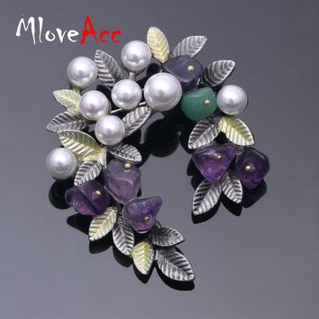 MloveAcc Colorful Natural Stone Leaf Brooches Pins Vintage Style Imitation Pearl Big Women Brooch Wedding Accessories Jewelry