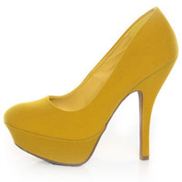 Bamboo Dash 02N Yellow Suede Platform Pumps - $33.00