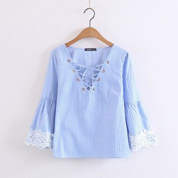 women sweet lace up V neck striped shirts lace patchwork flare sleeve blouse ladies casual brand tops blusas