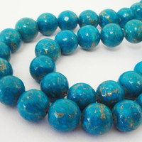 "Blue Turquoise Gold Howlite Gemstone Beads 7.5"" Inch Strand 12mm, Beads For Jewelry Projects"