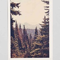 Kurt Rahn Mountains Through The Trees Art Print- Green One
