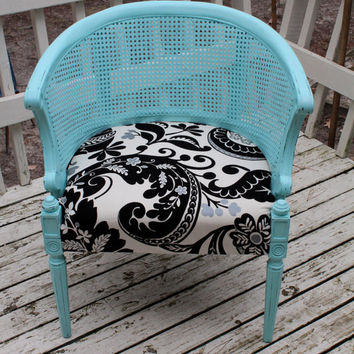 Vintage French Barrel Chair Cane Back Shabby Ch...