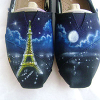 Painted Toms Eiffel Tower  Womens Shoes Airbrushed by SamsToms
