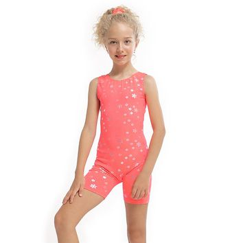 Girls Orang Dance Ballet Costumes Sleeveless Biketard Girls Ballet Dancewear Gymnastic Leotards Performance Dancesuit Headband