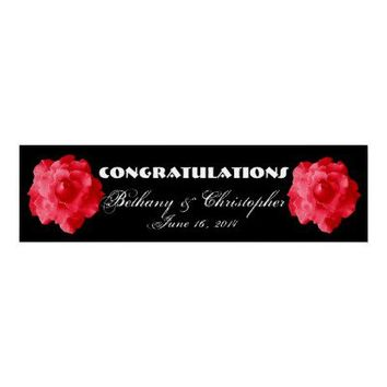 Red Roses Wedding or Engagement Personalized Banner Add Names and Date