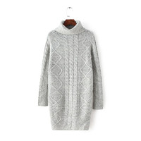 Gray Turtle Neck Long-Sleeve Knitted Dress Sweater