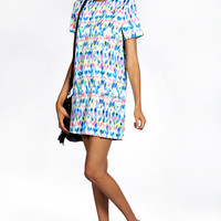 Becky Multi Coloured Aztec Short Sleeve Shift Dress