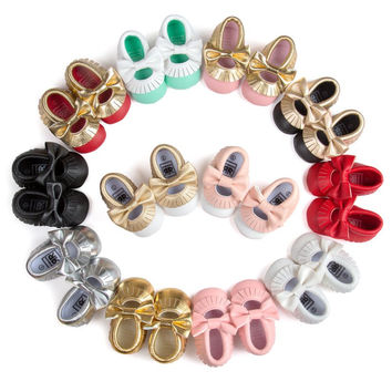 Fashion Cute Baby Girls Soft Soled PU Leather Shoes Toddler Infant Moccasin 0-18 Months 2017 First Walkers