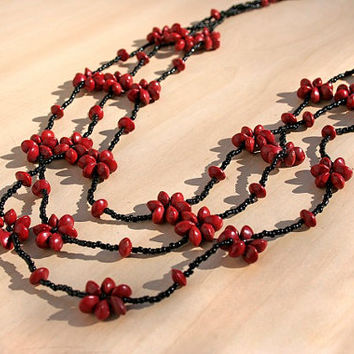 Red and Black Wooden Beaded Floral Necklace