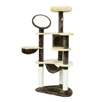 "PawHut 60"" Cat Tree Scratching Tower Condo with Hammock Post"