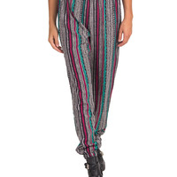 Vertical Stripes Elastic Waist Harem Pants - Pink - Large
