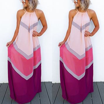 Sleeveless Pleated A-Line Maxi Dress