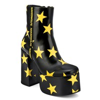 Posh Black And Yellow Stars Leather