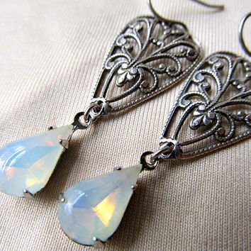 White Fire Opal Earrings Art Nouveau Bridal Earrings Silver Filigree Earrings 1920s Sterling Earrings- Romancing